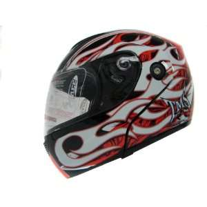 White/red/black Flame Modular Full Face Flip up Motorcycle
