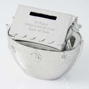 Personalized Elegant Engraved Noahs Ark Money Bank Block Baby