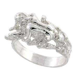 Sterling Silver Couple Making Love Nugget Ring, 1/2 (12mm