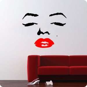 Marilyn Monroe Face Wall Decal Decor Quote Face Red Lips