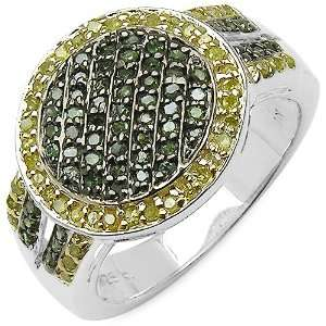 0.53 Carat Genuine Green & Yellow Diamond Sterling Silver