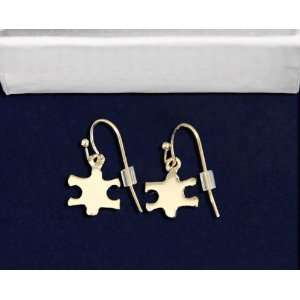 Autism Gold Puzzle Piece Earrings (Retail): Everything