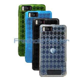 Four Diamond Flex Gel Skin Cover Case+Car Charger for Motorola Droid X