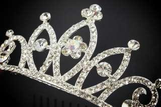 Jewelry Crown Clear Leaf Tiara Hari Comb Swarovski Crystals Rhinestone