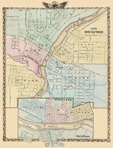 ROCKFORD/STERLING/ROCK FALLS ILLINOIS/IL MAP 1876 MOTP