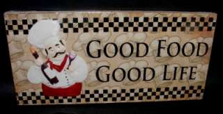 Wooden Wall Plaque Sign Good Food Good Life Kitchen Decor NEW