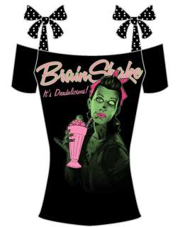 Too Fast Zombie Brain Shake Pinup Lady Shirt top punk S M L XL 80s
