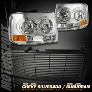 99 02 CHEVY SILVERADO CONVERSION HEADLIGHT+GRILLE GRILL