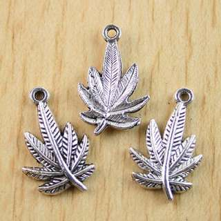 description15pcs Tibetan silver leaves charms findings h0305