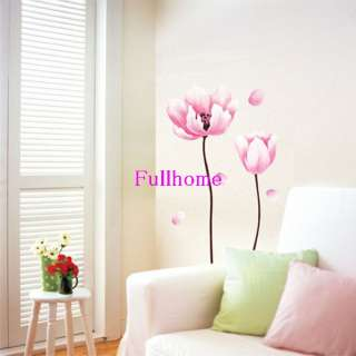 PINK FLOWER art Wall Sticker DIY Mural Deco Decal,R134