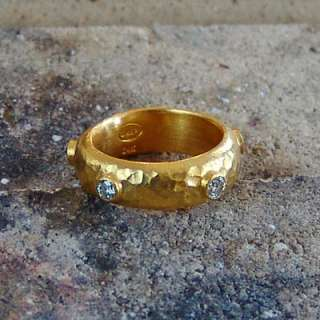 DESIGNER 24K SOLID YELLOW GOLD DIAMOND ETERNITY HAMMERED WEDDING RING