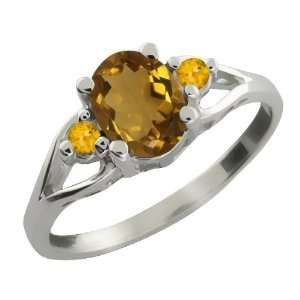 Ct Oval Whiskey Quartz and Yellow Citrine 18k White Gold Ring Jewelry