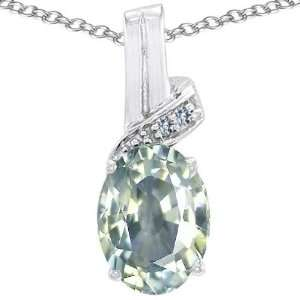 Gold Genuine Oval Green Amethyst and Diamond Pendant(MetalYello