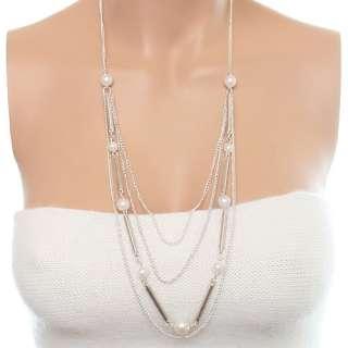 Silver White Long Dangling Faux Pearl Necklace Earrings Set