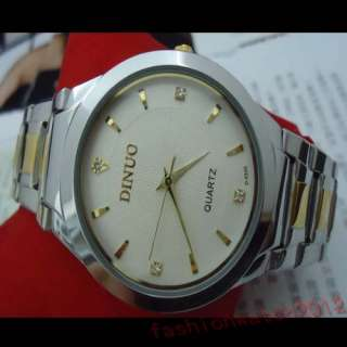 Mens Boys Quartz Wrist Watch Classic Dial Gold &Silver Stainless Steel