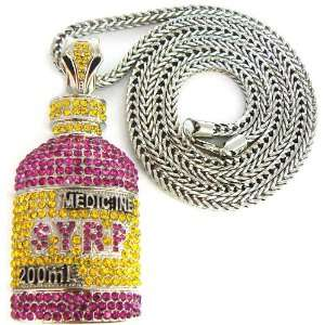 Syrp Lil Wayne Iced Out Pendant Necklace Silver 2 Franco