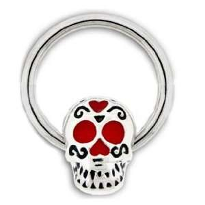 Dia De Los Muertos Skill with Red Hearts Captive Ring