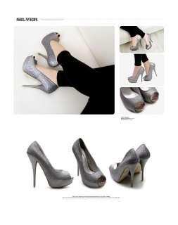 NEW Womens Shoes Platform Stilettos High Heels Pumps Glitter Multi