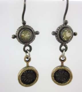 DESIGNER Silver Tone Yellow Crystal Brass Earrings