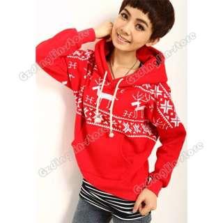 Christmas Snowflake Deer Hoodie Sweatshirt Coat Warm Top Fleeces #181