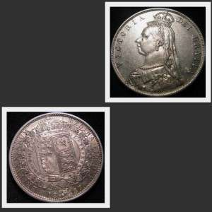 1887 GREAT BRITAIN VICTORIA HALF CROWN SILVER COIN  HIGH GRADED