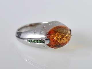 Gadi 18K White Gold Citrine Diamond Tsavorite Ring