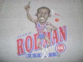 vtg DETROIT PISTONS DENNIS RODMAN CARICATURE SOFT THIN t shirt L