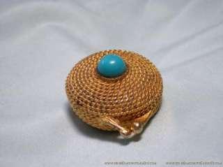 Vintage Estee Lauder Perfume Compact Blue Cab Gold Case