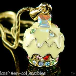 Yellow Gold plated Lemon CUPCAKE w Swarovski Crystal Charm Pendant