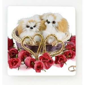 Two Dogs in a Valentines Day Basket Magnet
