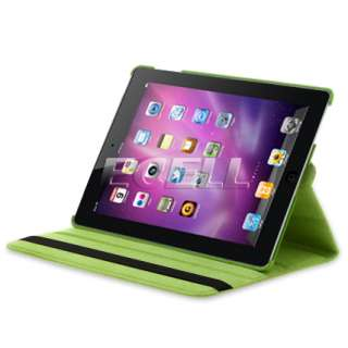 LIME GREEN ROTATING LEATHER CASE STAND FOR APPLE iPAD 2