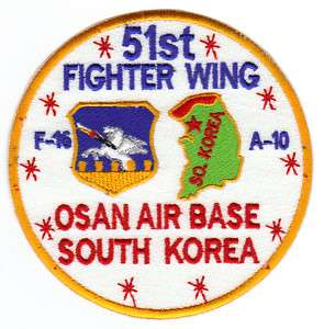 USAF PATCH, 51ST FIGHTER WING, OSAN AIR BASE KOREA Y