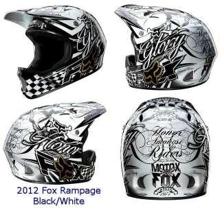 2012 Fox Rampage DH MTB Helmet Black/White Cycle Mountain Bike Full