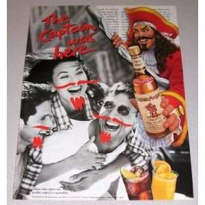 Captain Morgan Spiced Rum Moustache 1995 Magazine Print Ad
