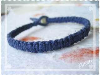 Handmade Macrame Hemp Surfer Skater Bracelet Bone Bead
