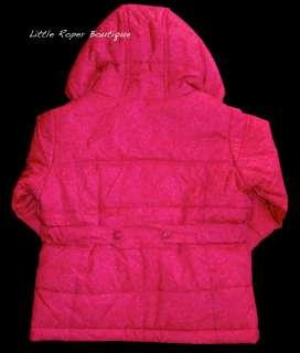 Girls Lands End Pink Jacket Parka Sz 4 Small S Pattern Weatherly Iris