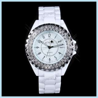 3A Crystal Couple Women Men Lover Japan Quartz Wrist Watch