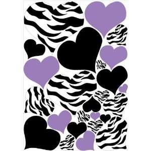Zebra Print, Black and PURPLE Heart Wall Stickers,decals