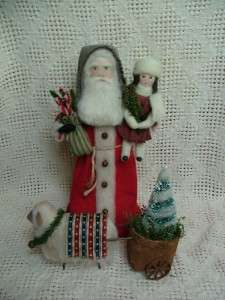 Folk Art Santa Doll & Child ~ Woolly Sheep~ Cart ~ Christmas Tree