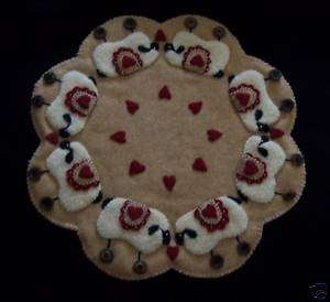 Love Ewes Wool Sheep Penny Rug Candle Mat *PATTERN*