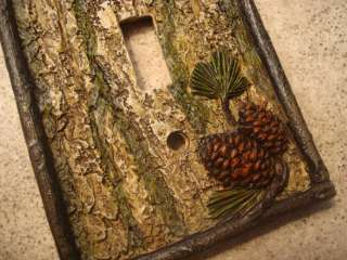 PINE CONE BARK LODGE CABIN LIGHT SWITCH PLATE COVER New