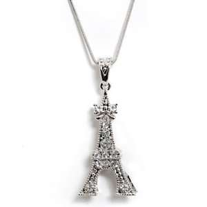Silver Plated Eiffel Flat Tower Charm and Chain