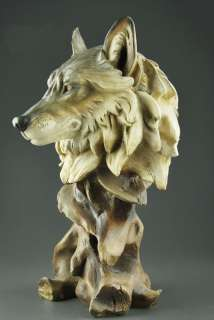 Large Resin WOLF Head Bust Statue 11High