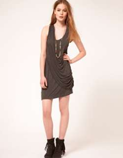 Image 4 of Factory By Erik Hart Draped Jersey Dress With Racer Back