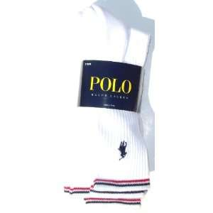 Polo Ralph Lauren White Socks With Black and Red Stripe