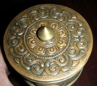 Wonderful Rare Old Tibetan Buddhist Carved Prayer Wheel
