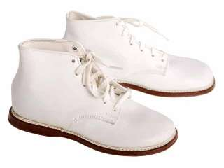 Vintage White Leather High Top Childs Shoes 1950s NIB 370 Red Goose