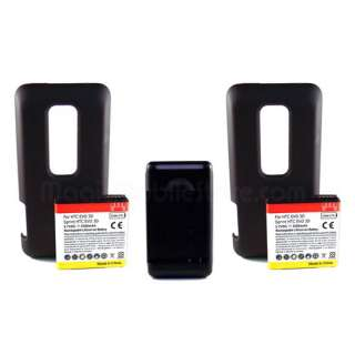 2x 3500mah For HTC EVO 3D New Extended Battery Black Wall Charger
