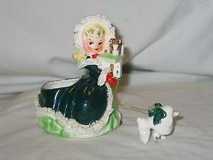 Vintage Christmas Napco Ceramic Shopper Girl Planter With Poodle 1950