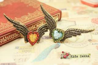 Fashion Ancient Blue Crystal Heart Bronze Angels Wing Retro